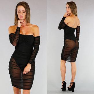 Schwarz See-Through Off-Shoulder-Kleid Körper