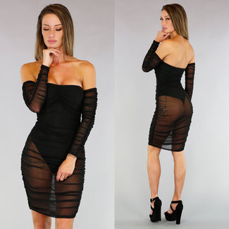 !XSALE Schwarz See-Through Off-Shoulder-Kleid Körper