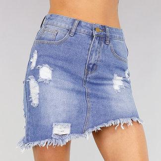 Jeans Rock mit asymmetrischem Tränen