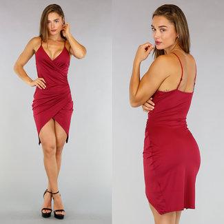 !XSALE Wein Mullet Kleid Plissee Taille