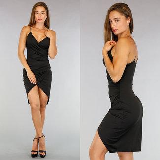 !XSALE Schwarz Mullet Kleid mit Plissee Taille