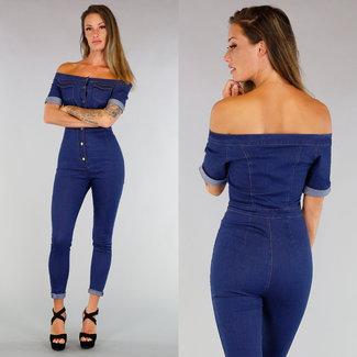 Dunkle gewaschene Jeans Off-Schulter-Overall