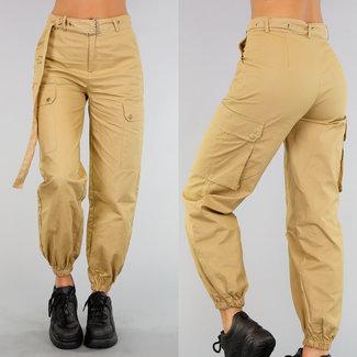 Camel Cargo Hose mit Taschen und Gürtel
