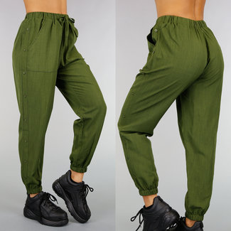 !SALE70 Grün-Harem-Hosen mit Knöpfen