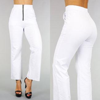 !OP=OP Weiß Joggy High Waist Hose mit Reißverschluss