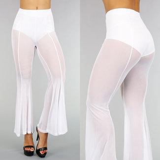 High Waist Weiß Mesh-Flair Hosen mit Streifendetail
