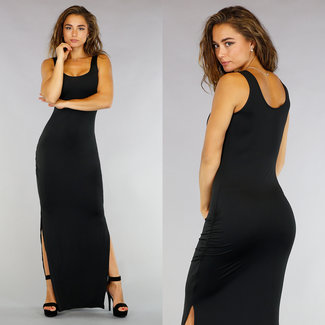 !XSALE Schwarz Maxi-Behälter-Kleid mit Double Split