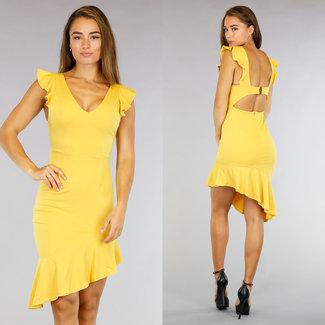Netter gelber Mullet Kleid Cut