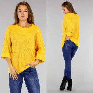 Gelb Maxi-Pullover mit Tasche