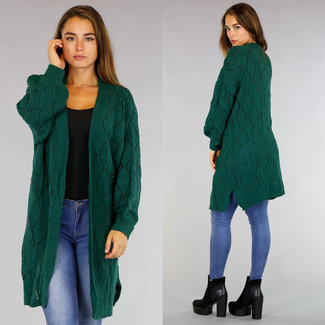 !OP=OP Übergroße Grün Crochet Cardigan
