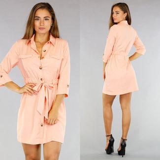 Tough Coral Bluse Kleid mit Bund und Buttons