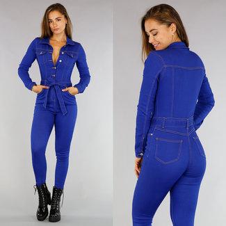 Blue Jeans Langarm-Overall mit Knöpfen