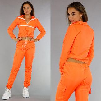 !OP=OP Modischer Sportanzug mit Kurzpulli Neon-Orange