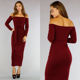Wein-Rot-Off-Schulter-Maxi-Kleid mit Knopf Rippdetail