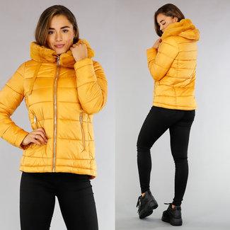 !OP=OP Gestepptes Yellow Jacke mit Kapuze und Kunstpelz