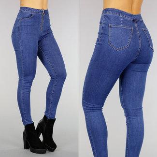 Hohe Taille dünne Jeans mit Reißverschluss