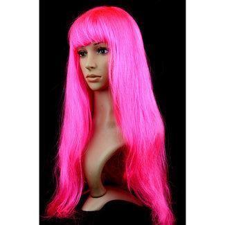 Lange Partei-Perücke mit Pony Neon Pink