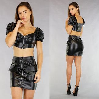 Sexy Schwarz-Leder-Blick Ernte 2-teilig