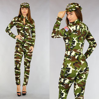 Military Sexy Catsuit Kostüm mit Hut