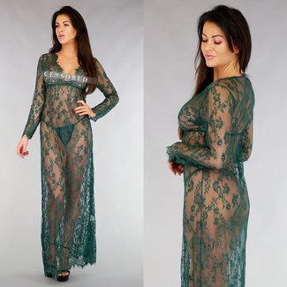 Lange Spitze Kimono mit gewellter Einzelheit Grün