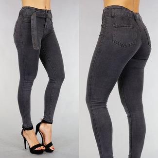 !OP=OP Grau mit hoher Taille Jeans mit Gürtel