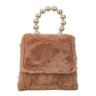 Lachsrosa Fluffy Umhängetasche mit Perlen Griff