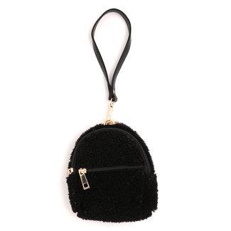 Fluffy schwarze Minitasche mit Handschlaufe