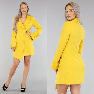 Gelber Blazer Asymmetrische Kleid Buttons