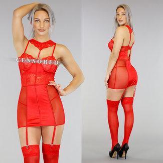 Red Hemdchen mit Spitze und Strapse