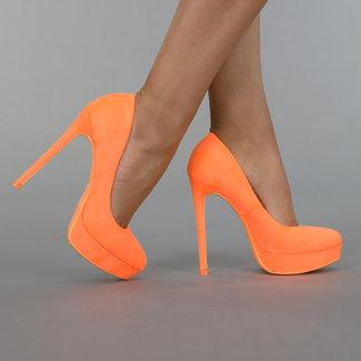Neon Orange Suède Look-Plattform-Pumpen