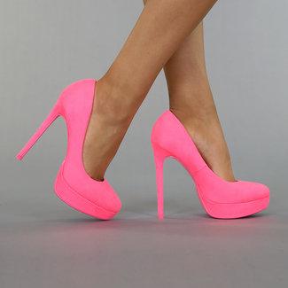 Neon Pink Veloursleder-Optik-Plattform-Pumpen