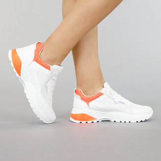 !OP=OP Weißen Turnschuhe mit Croco und orange-Details