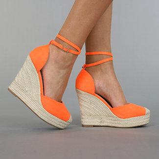 Orange Bohemian Sandalen mit Keil