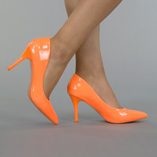 Orange Lack Stiletto Pumps