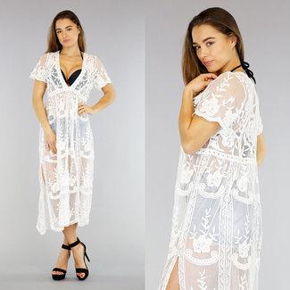 Weiß gestickte Vertuschung-Kleid mit V-Ausschnitt