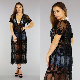 Schwarz genähte Vertuschung-Kleid mit V-Ausschnitt