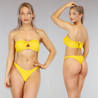 Ocker Gelb Bandeau-Bikini mit Cut-Out