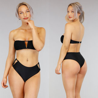 !SALE85 Schwarz mit hohen Taille V-Form-Bikini