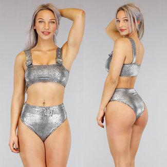 Metallic Croco hohe Taillen-Bikini mit Schnallen