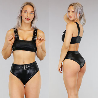 Croco Schwarz mit hohen Taille Bikini mit Schnallen