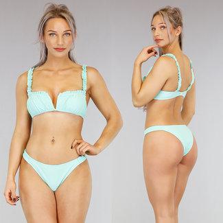 !SALE70 Mint Green V-Form-Bikini mit Rüschen