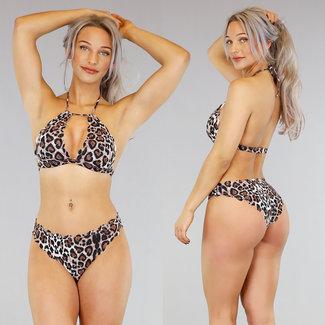 Mit Bordüren Leopard Halter Bikini