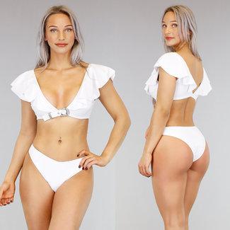 !SALE70 Sexy weißer Rüschen Bikini Buckle