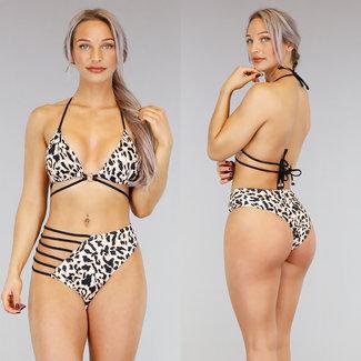 Hohe Taille Leopard Bikini mit Riemchen