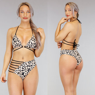 !SALE70 Hohe Taille Leopard Bikini mit Riemchen