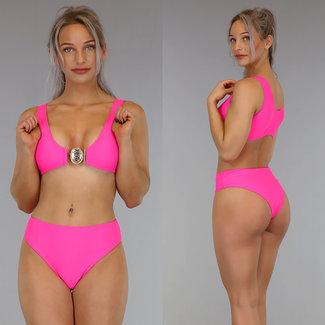 Sexy Fuchsia mit hohen Taille Bikini