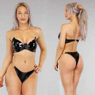 Schwarzer PVC-Bikini mit See-Through-Trägern