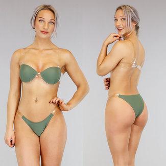 Sexy grüner Bikini mit See-Through-Trägern