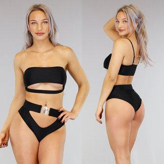 Schwarz mit hoher Taille Bikini underboob