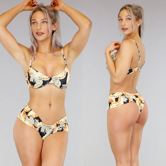 !SALE70 Rib Banana Print Bikini Bracket